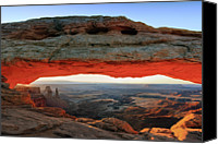 Mesa Arch Canvas Prints - Mesa Arch Canyonlands N.p Canvas Print by Proframe Photography