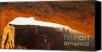 Mesa Arch Canvas Prints - Mesa Arch First Light Canvas Print by Bob Christopher