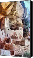 Ruin Digital Art Canvas Prints - Mesa Verde Canvas Print by Jeff Kolker