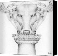 Cow Drawings Canvas Prints - Mesopotamian Capital Canvas Print by Curtiss Shaffer