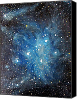 Space Art Canvas Prints - Messier 45 Pleiades Constellation Canvas Print by Alizey Khan