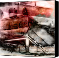 Abstract Building Canvas Prints - Metal Beams Abstract Canvas Print by Emilio Lovisa