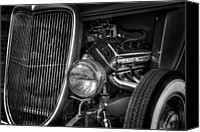 Monochrome Hot Rod Canvas Prints - Metal Man Art Canvas Print by John Herzog