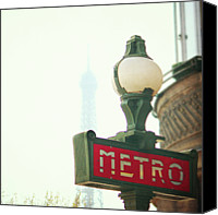 International Landmark Canvas Prints - Metro Sing Paris Canvas Print by Gabriela D Costa