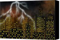 Location Digital Art Canvas Prints - Metropolis At A Stormy Night Canvas Print by Michal Boubin