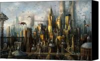 Science Fiction Mixed Media Canvas Prints - Metropolis Canvas Print by Philip Straub