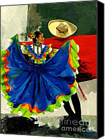 Dancers Canvas Prints - Mexican Dancers Canvas Print by Elisabeta Hermann