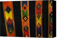 Throw Tapestries - Textiles Canvas Prints - Mexican Throw Rug Colorful Canvas Print by Unique Consignment