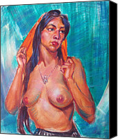 mexican village nude bill joseph markowski Indian Ladies Painting Canvas Prints   Mexican Village Nude Canvas Print by ...