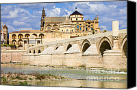 Great Mosque Canvas Prints - Mezquita Cathedral and Roman Bridge in Cordoba Canvas Print by Artur Bogacki
