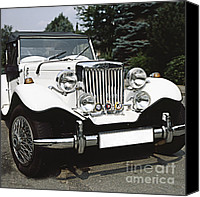 Antique Automobiles Canvas Prints - MG Classic Car Canvas Print by Heiko Koehrer-Wagner