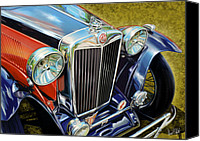 Sports Car Canvas Prints - MG Hood Detail Canvas Print by David Kyte