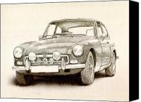 Drawing Canvas Prints - MG MGB MkII Canvas Print by Michael Tompsett