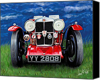 British Car Canvas Prints - MG TA Sports Car Canvas Print by David Kyte