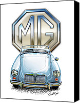 Sports Car Canvas Prints - MGA Sports Car in Light Blue Canvas Print by David Kyte