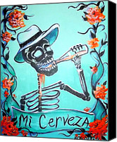 Skulls Canvas Prints - Mi Cerveza Canvas Print by Heather Calderon