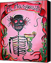 Dia De Los Muertos Canvas Prints - Mi Margarita Canvas Print by Heather Calderon