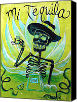 Skulls Canvas Prints - Mi Tequila Canvas Print by Heather Calderon