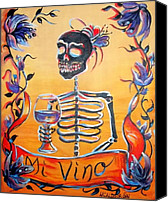 Dia De Los Muertos Canvas Prints - Mi Vino Canvas Print by Heather Calderon
