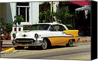 Florida Mixed Media Canvas Prints - Miami Beach Classic Car with Watercolor Effect Canvas Print by Frank Romeo