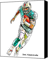 Miami Dolphins Canvas Prints - Miami Dolphins  Chad Henne Canvas Print by Jack Kurzenknabe
