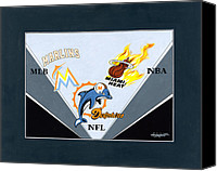 Mlb Painting Canvas Prints - Miami Majors Canvas Print by Herb Strobino