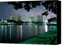 Hall Canvas Prints - Miami Residence Halls at Night Canvas Print by University of Miami