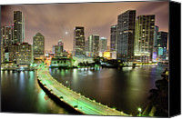Moon Canvas Prints - Miami Skyline At Night Canvas Print by Steve Whiston - Fallen Log Photography