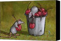 Mouse Pastels Canvas Prints - Mice Stealing Cherries Canvas Print by Joyce Geleynse