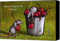 Mouse Pastels Canvas Prints - Mice With Cherries Party Invitation Canvas Print by Joyce Geleynse