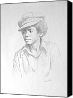 African American Art Drawings Canvas Prints - Michael In Cap Canvas Print by David Price