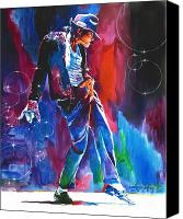 Featured Painting Canvas Prints - Michael Jackson Action Canvas Print by David Lloyd Glover