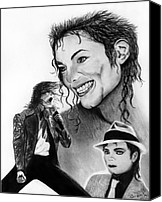 Celebrities Drawings Canvas Prints - Michael Jackson Faces to Remember Canvas Print by Peter Piatt