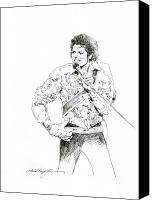 Celebrities Drawings Canvas Prints - Michael Jackson Royalty Canvas Print by David Lloyd Glover