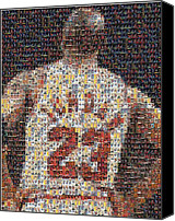 Player Canvas Prints - Michael Jordan Card Mosaic 2 Canvas Print by Paul Van Scott