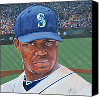 Major League Baseball Painting Canvas Prints - Michael Pineda Canvas Print by Shirl Theis