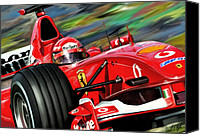 Red Car Canvas Prints - Michael Schumacher Ferrari Canvas Print by David Kyte