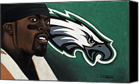 Mike Pastels Canvas Prints - Michael Vick Canvas Print by L Cooper