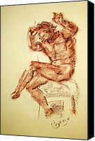 Terra Cotta Drawings Canvas Prints - Michelangelo Sketch in Terra Cotta Chalk Drawing on Textured Paper of Nude Male Sistine Chapel Canvas Print by MendyZ M Zimmerman