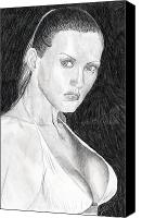 Female Figure  Drawings Canvas Prints - Michelle Canvas Print by Michael McKenzie