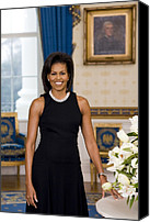 Obama Photo Canvas Prints - Michelle Obama 1964-, In Her Official Canvas Print by Everett