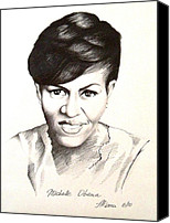 Michelle-obama Drawings Canvas Prints - Michelle Obama Canvas Print by A Karron