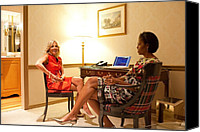 Michelle Obama Canvas Prints - Michelle Obama And Dr. Jill Biden Wait Canvas Print by Everett