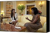 Michelle Obama Photo Canvas Prints - Michelle Obama And Queen Rania Canvas Print by Everett