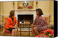 Michelle Obama Canvas Prints - Michelle Obama And Queen Silvia Canvas Print by Everett