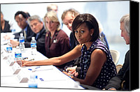 Michelle Obama Photo Canvas Prints - Michelle Obama Attends A Meeting Canvas Print by Everett