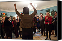 Michelle Obama Canvas Prints - Michelle Obama Celebrates With Guests Canvas Print by Everett