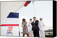 Michelle Obama Canvas Prints - Michelle Obama Christens The Us Coast Canvas Print by Everett