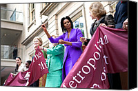 Michelle Obama Photo Canvas Prints - Michelle Obama Cuts The Ribbon Canvas Print by Everett