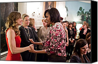 Michelle Obama Canvas Prints - Michelle Obama Greets Actress Hilary Canvas Print by Everett